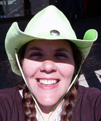 "Laura Moncur in her new green ""cowboy"" hat"