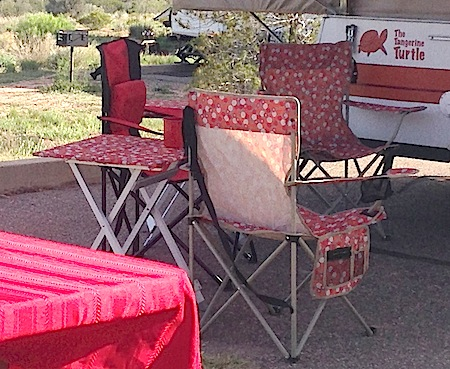 Covered Aluminum Tables with Matching Chairs from Starling Travel