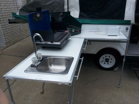 DIY Outdoor Galley and Camp Kitchen for a Popup Camper
