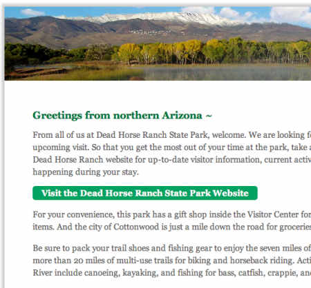 Dead Horse Ranch State Park AZ Reminder Email from Starling Travel