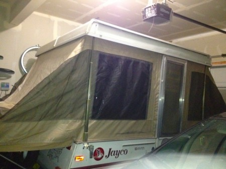 Deployed Jayco Tent Trailer in the Garage