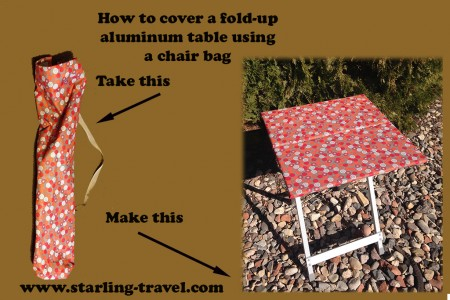 How to cover your fold up aluminum table from Starling Travel