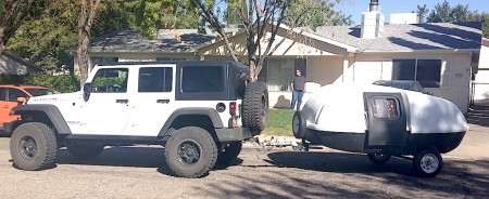 Jeep Rubicon and Teardrop American Outbacker from Starling Travel