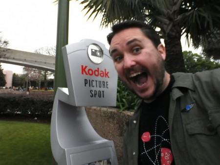 Kodak Picture Spot in Tomorrowland at Disney World with Wil Wheaton