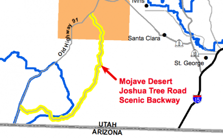 Map of the Mojave Desert Joshua Tree Road