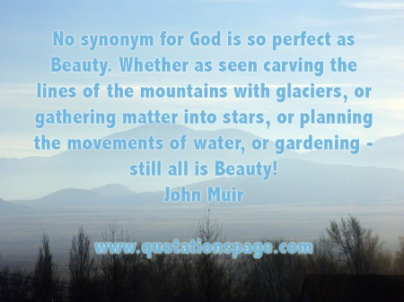 No synonym for God is so perfect as Beauty. Whether as seen carving the lines of the mountains with glaciers, or gathering matter into stars, or planning the movements of water, or gardening - still all is Beauty! John Muir from The Quotations Page