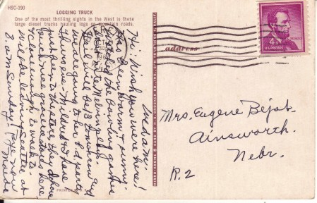 Postcard to Mrs. Eugene Bejot