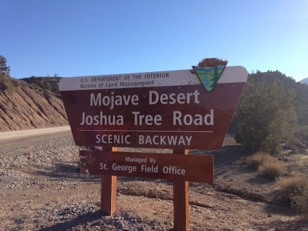 Subaru XV Crosstrek on the Mojave Desert Joshua Tree Road