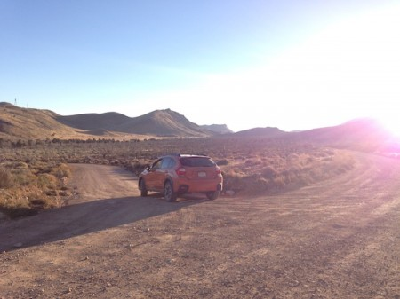 Subaru XV Crosstrek on the Mojave Desert Joshua Tree Road