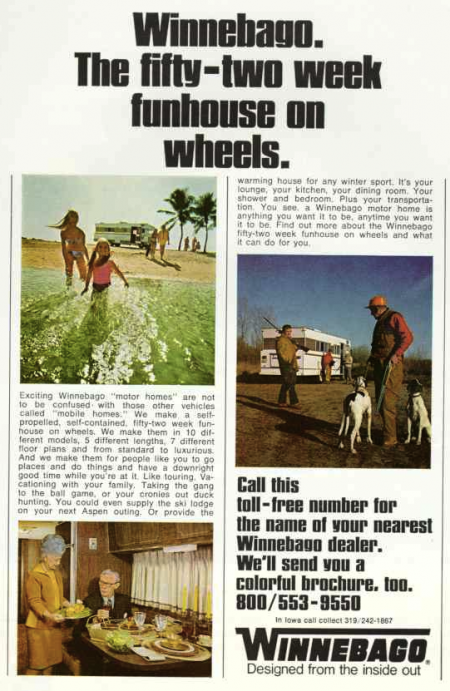 Winnebago Ad from National Geographic 04-1970 from Starling Travel
