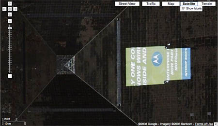 Satellite shot of the Luxor Hotel from Google Maps