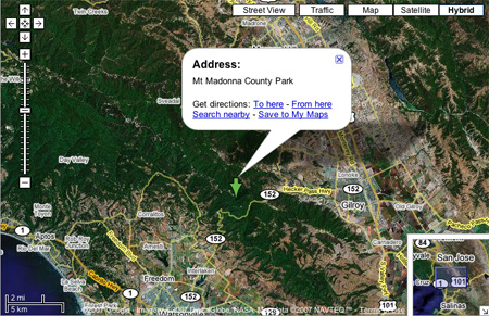 Mount Madonna Park, California on Google Maps